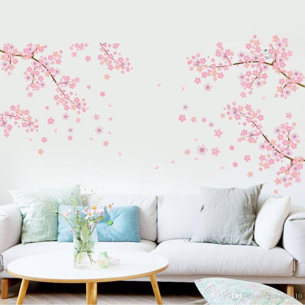 Cheap Pvc Large Pink Peach Flower Pattern Wall Stickers Living