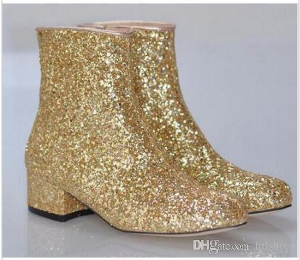 2017 Hot Sale T-stage Women Glitter Ankle Boots Square Heels Sparkly Booties Spring and Fall Feminino Botas Red Silver Gold Shoes Woman