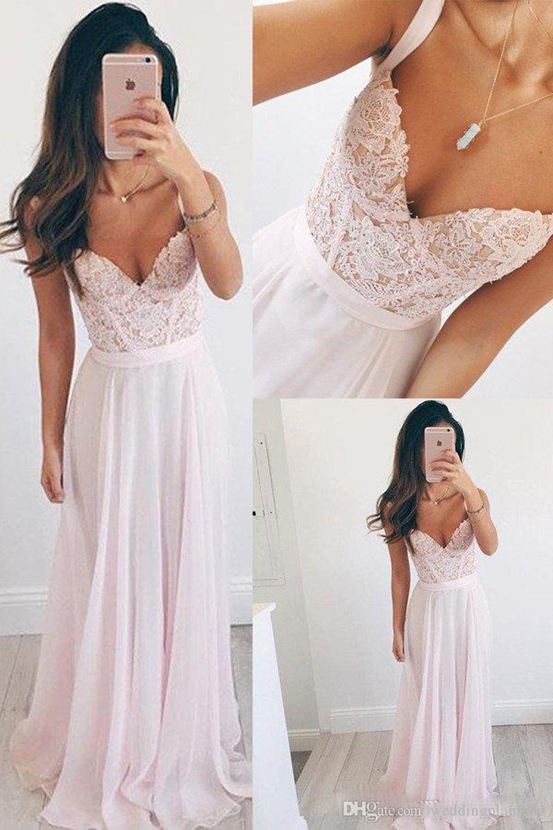Luxury Dusty Pink Lace Chiffon Evening Dress Spaghetti Sweetheart Prom Gown Beach Bridal Dresses Floor Length Zipper Back Bridesmaid Dress