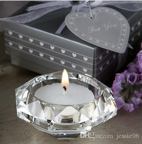 Wedding Candle Favors Crystal Glass Diamond Shape Heart shape Tealight Candle Holder Bridal Shower Party Favors gift banquet table decor