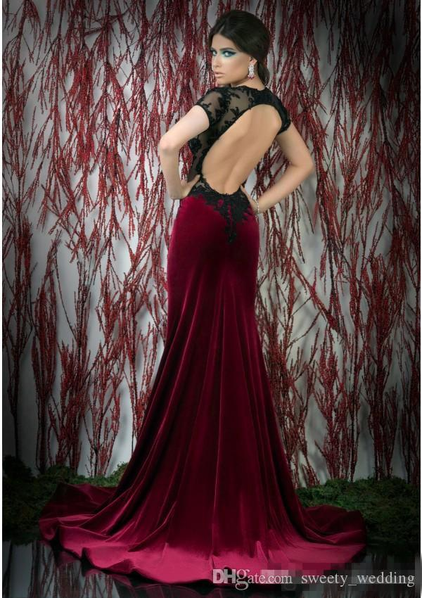 Vintage Backless Burgundy Velvet Mother Of Bride Evening Dresses Short Sleeve Illusion Bodice Front Split 2017 Sexy Women Prom Occasion Gown