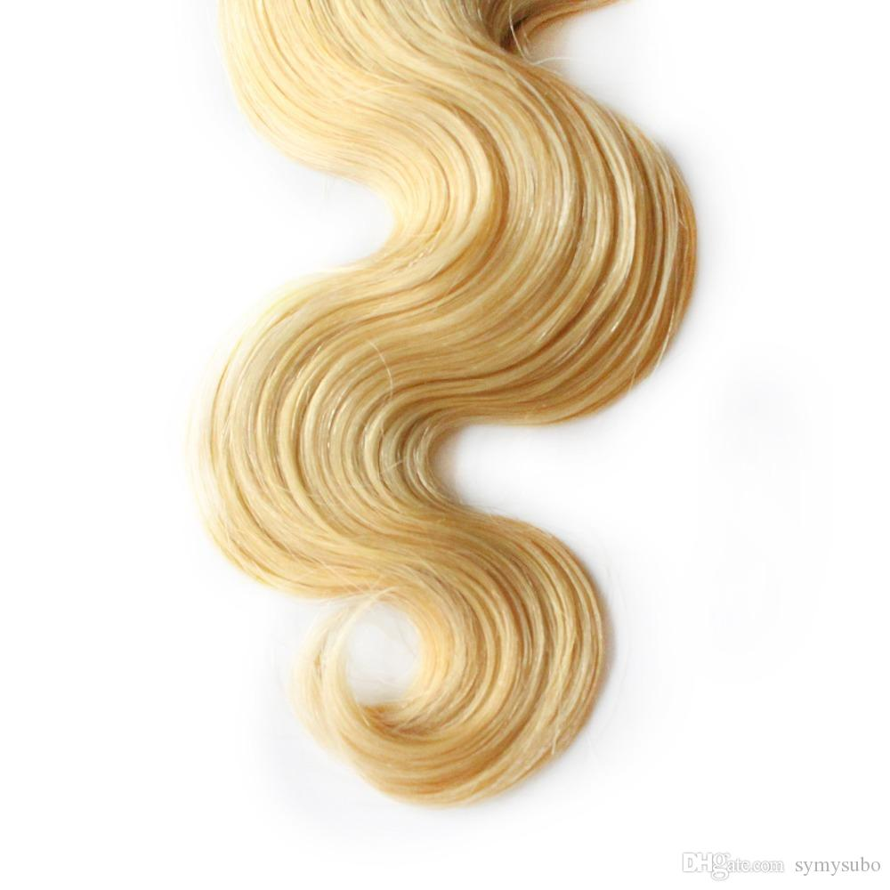 6A Virgin Unverarbeitete Blasses gold Farbe Brasilianische Menschliche Remy Haarverlängerungen 10-30