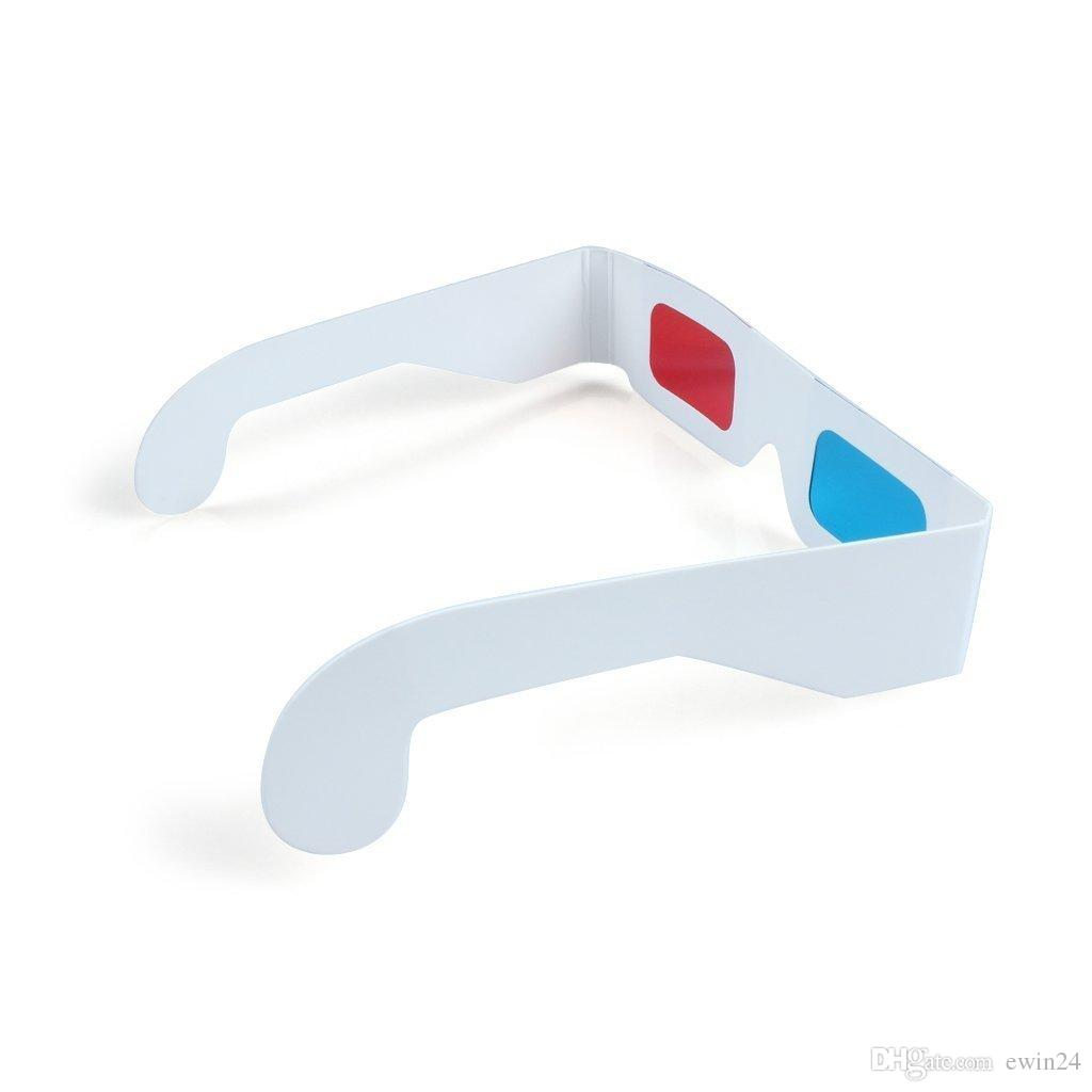 Nuevos vidrios 3D Tarjeta de papel cian rojo / azul Gafas de anáglifo 3-D White paper goof view popular