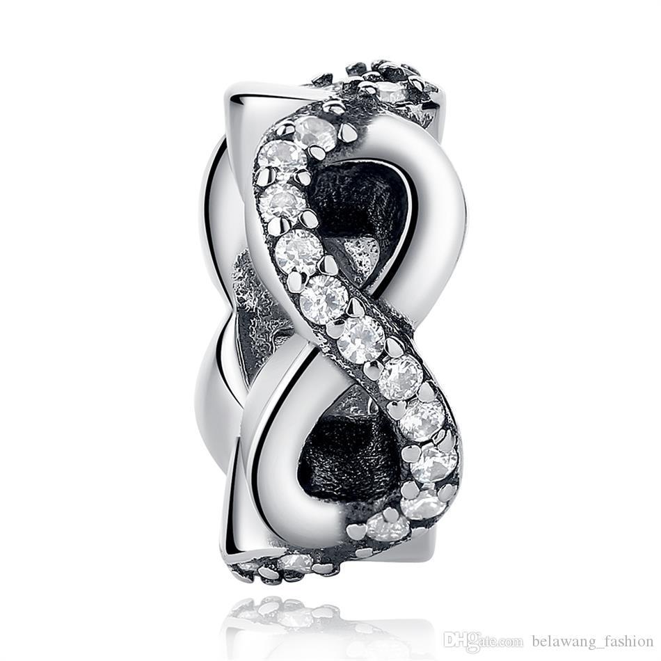 BELAWANG Европейский Бесконечности подвески стерлингового серебра 925 ясно CZ Шарм бусины Fit Pandora оригинальный шарм BraceletsNecklaces DIY ювелирных изделий