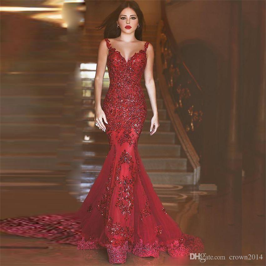 Великолепное темно-красное платье для выпускного вечера с русалкой Прозрачное вечернее платье без рукавов с V-образным вырезом без рукавов и вышивкой с бисером Формальные платья
