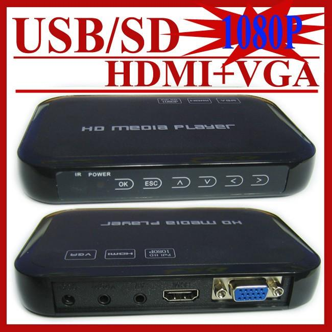 Wholesale- JEDX Car media player USB Full Hd 1080p HDD Media Player Hdmi VGA MKV H.264 HD601 Included 8G U Disk Drive+Car adapter