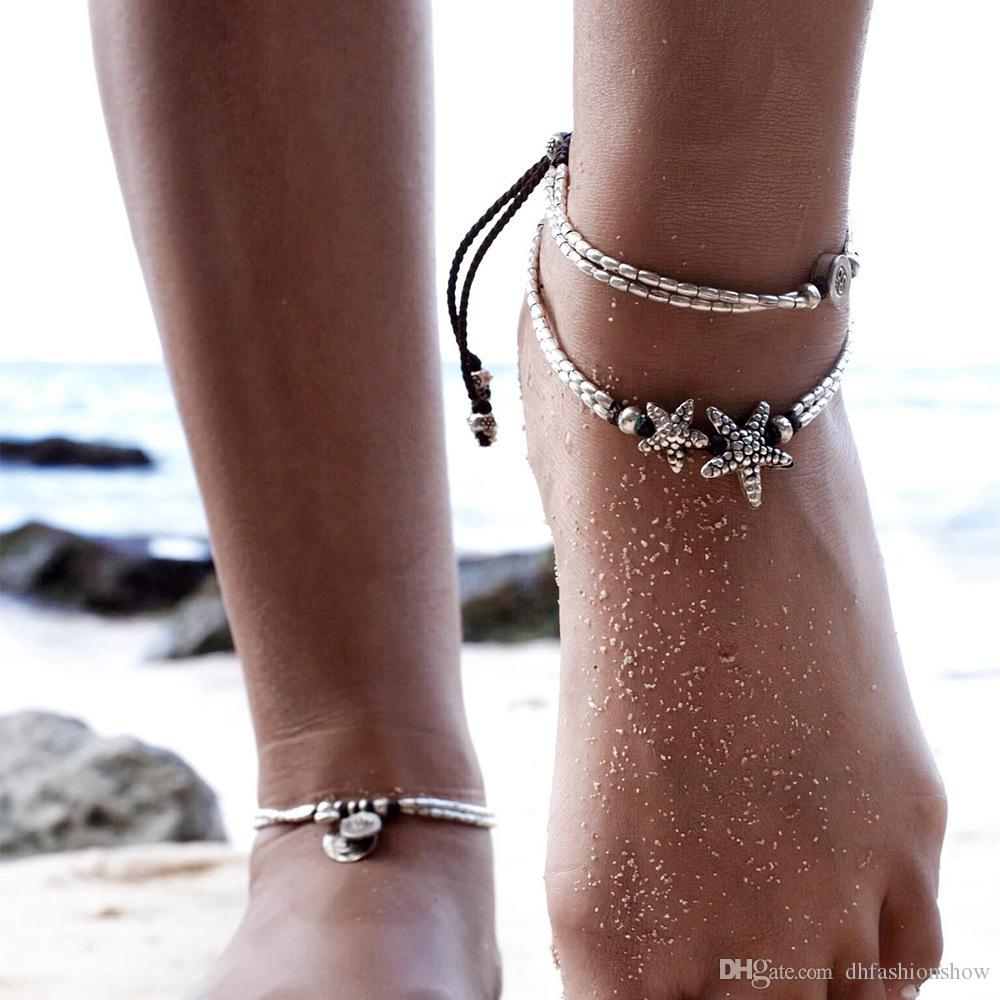 Starfish Round Stretch Boho Anklet Foot Chain Ankle Summer Bracelet Charm Anklet Adjusted Sandals Barefoot Beach Bridal Jewelry