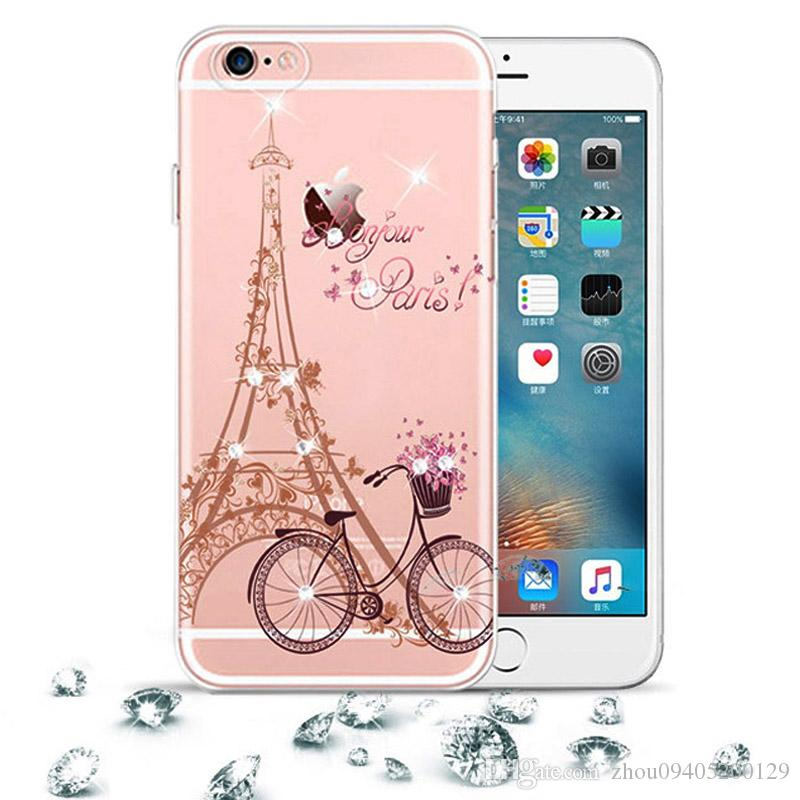 buy popular a66ae 269b9 Clear Case For iphone 6 plus Case Rhinestone Glitter Silicone Cover  Original For iphone 6s plus 3D Cute Luxury Crystal Diamond Soft Shell