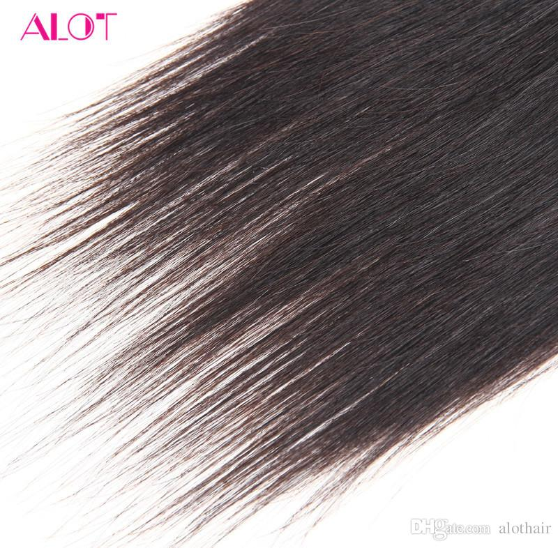 ALOT 8A Grade Malaysian Peruvian Brazilian Human Hair 3/4 Bundles Mink Straight Hair Weaves Cheap Hair Weaves Extensions Sale 100G/Bundles