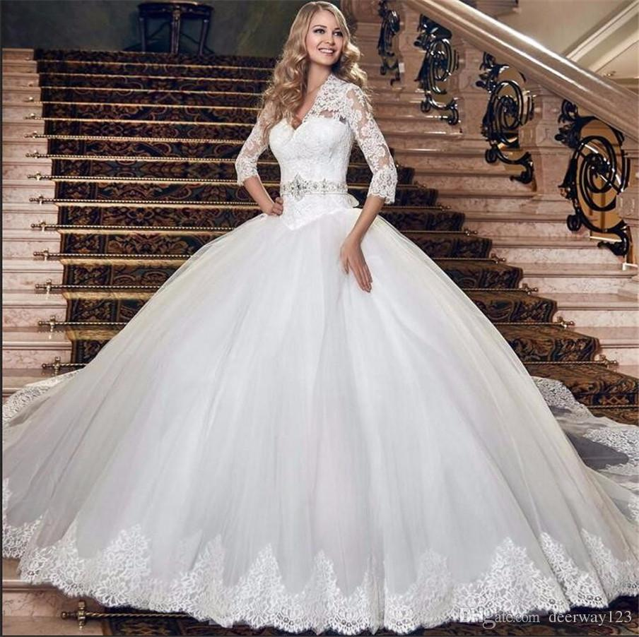 Drop Sleeve Wedding Gowns With: Gorgeous Ball Gown Princess 3/4 Sleeves Dropped Waistline