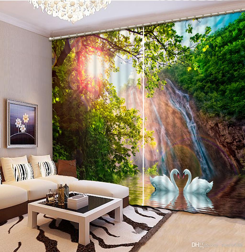 522017 Curtains For Living Room Waterfall Nature Scenery 3d Curtain  . Living Room Waterfall. Home Design Ideas
