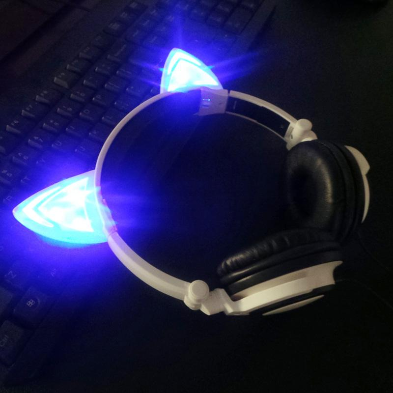 Cat Ear Headphones Foldable Flashing Glowing Cosply Headsets Gaming Headband Earphone with LED Light For Cell Phone PC Laptop Computer Pad