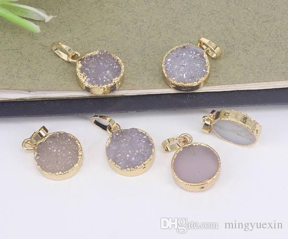 13mm Round Shape Natural Druzy Agate Quartz Pendants,Gold Plated charm Gemstone Druzy Pendants,For Jewelry Making