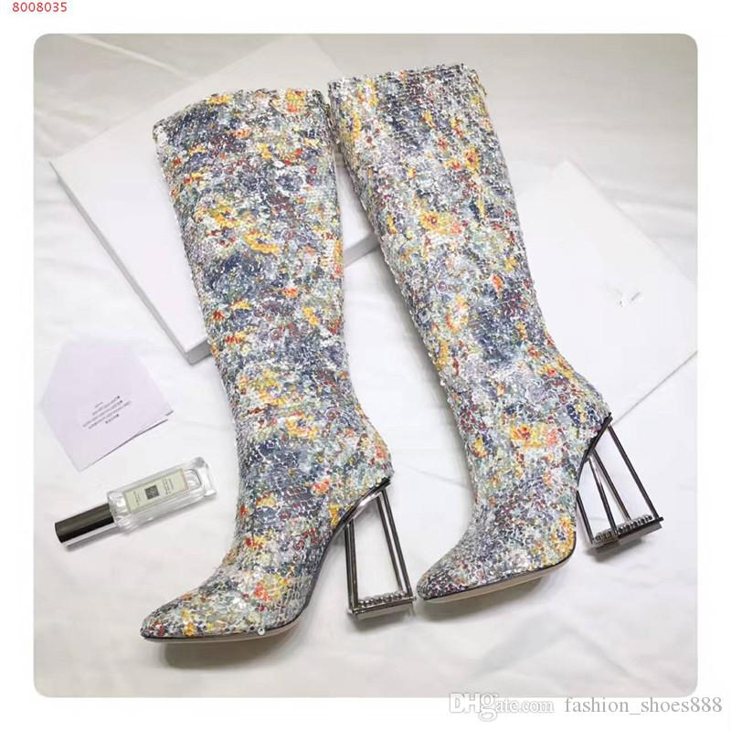 Knee boots,decorated with glitter,with square transparent heel.Please contact me directly for more information