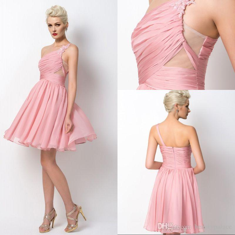 0ff6026af6 Free Shipping One Shoulder Mini Short Pearl Pink Chiffon Beach Bridesmaid  Dresses With Ruched Appliques Sexy Wedding Reception Party Dresses