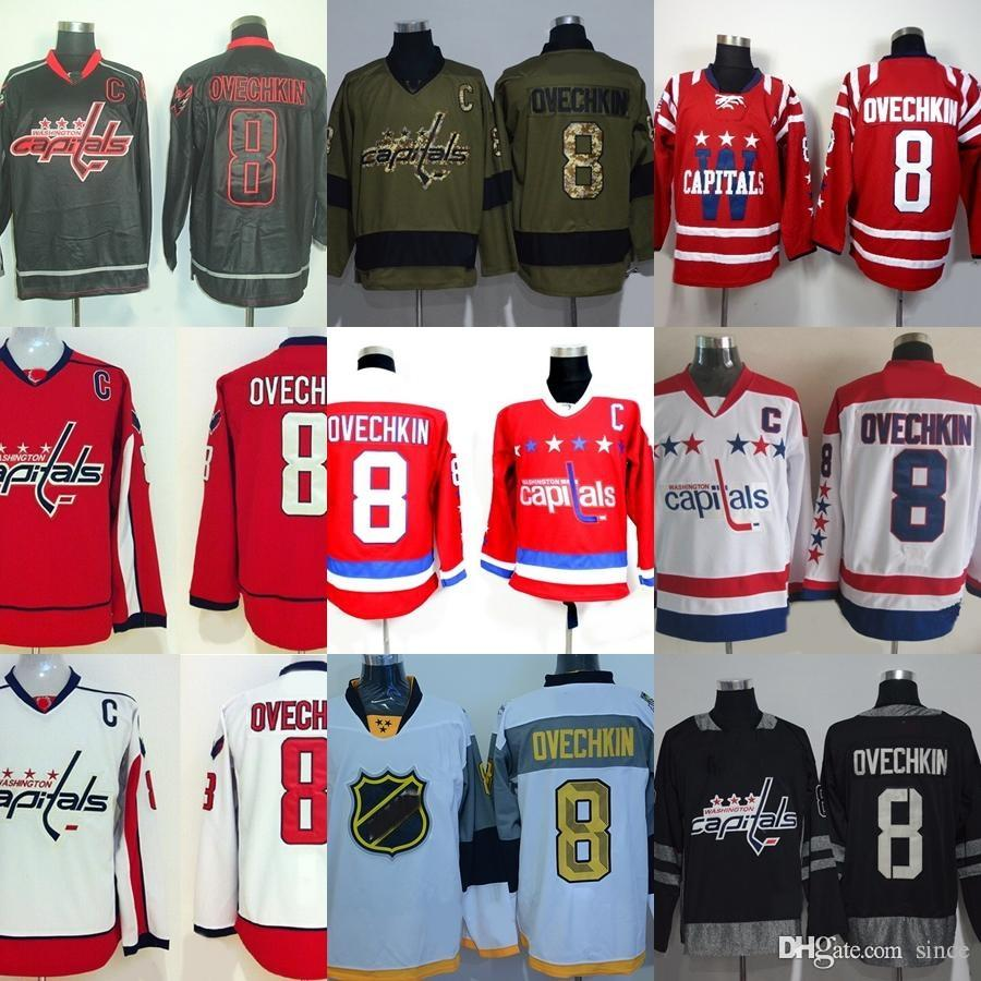 fd67819a1ea Factory Outlet Men's Washington Capitals #8 Alex Ovechkin Green Black Red  White Best Quality Newest Hot Sale ice hockey jerseys free shippin