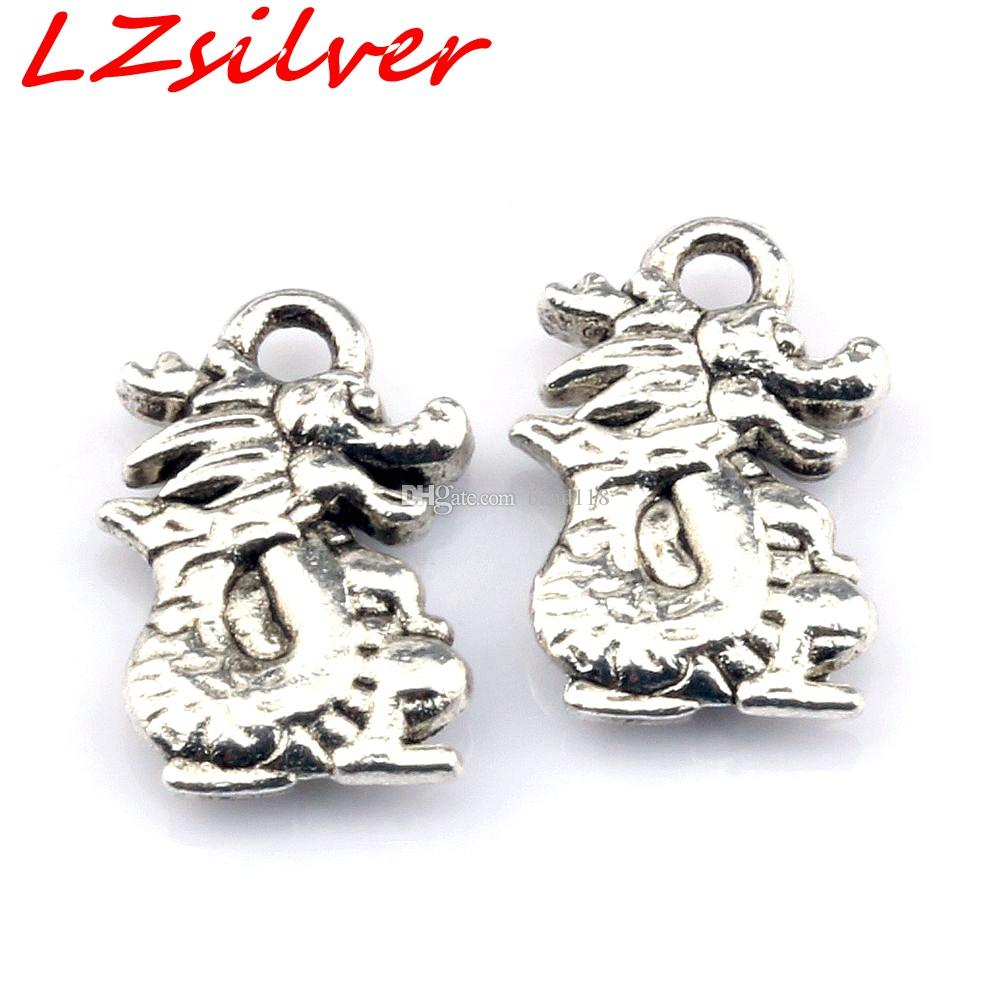 MIC Ancient silver zinc alloy Dragon Charms Pendant 10*15mm DIY Jewelry A-110