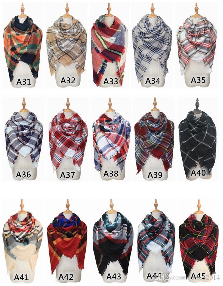 2018 Fashion Plaid Decke Schal Frauen Tartan Quasten Schal Grid Schal Wrap Lattice Halstuch Cashmere Schalldämpfer Mode Winter Check Pashmina