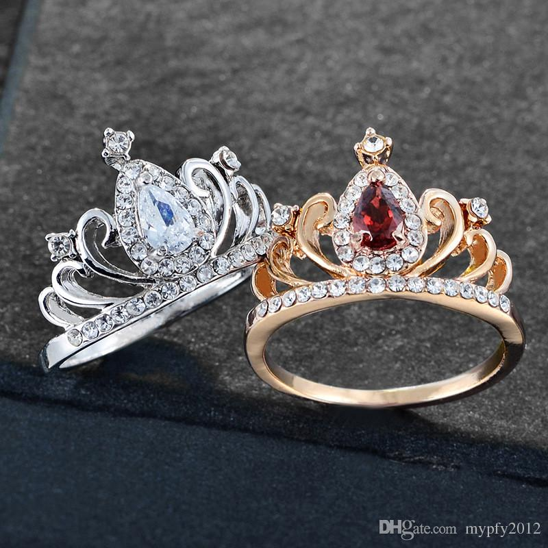 Silver Gold Color Cubic Zirconia Hollow Heart Rings Crown Ring