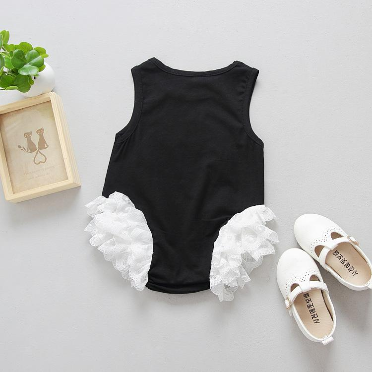 Newborn babies romper swan cute baby one-piece clothing lace infant jumpsuits kids toddler black white summer clothes