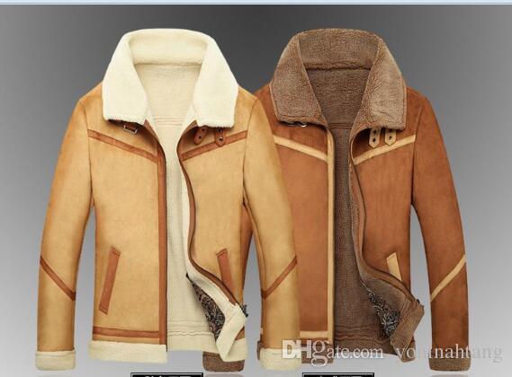 Venta al por mayor envío gratuito hombres calientes Air Force One chaqueta para hombre de lana de piel sintética chaqueta de cuero grueso fleece hombres