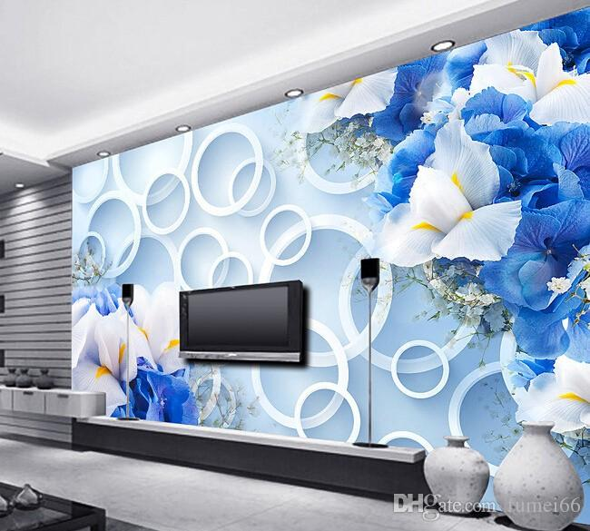 Custom 3d Wallpaper, Blue Fantasy Fashion Flowers Murals For The Living Room  Bedroom Background Wall Waterproof Vinyl Wallpaper Wallpaper Hd I Wallpaper  Hd ... Part 38