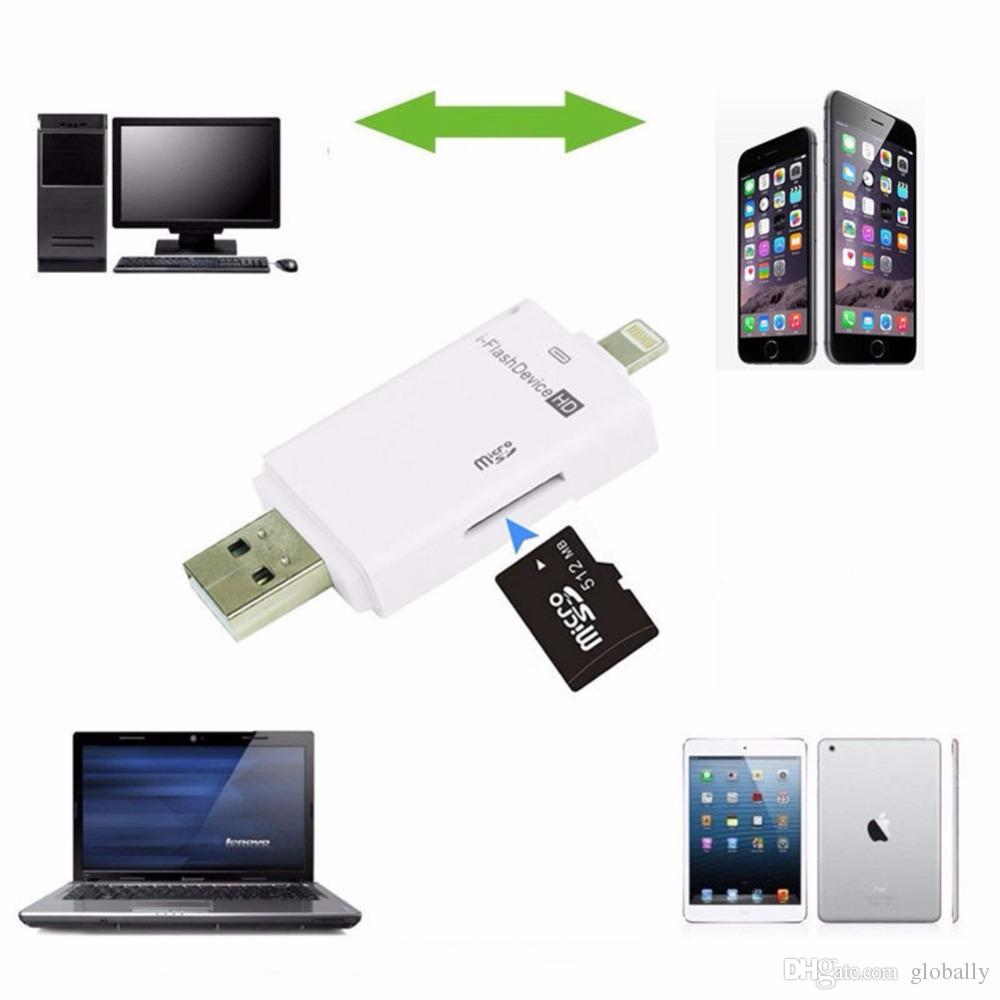 best website 3a251 f3cfb i Flash Device Drive USB PC Phone Micro SD / TF Card Reader For iPhone 6 6S  7 Plus 5 5S For iPad Pro 4 5 6 Mini 2 3 Air 2 free DHL