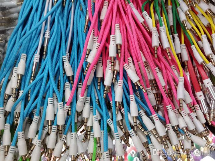 100 teile / los 3,5mm Geflochtene Woven Männlich zu Männlich MM Audio AUX Kabel Stereo Hilfskabel Für Iphone 4 Auto für iphone 5 5 s Für Telefon MP3