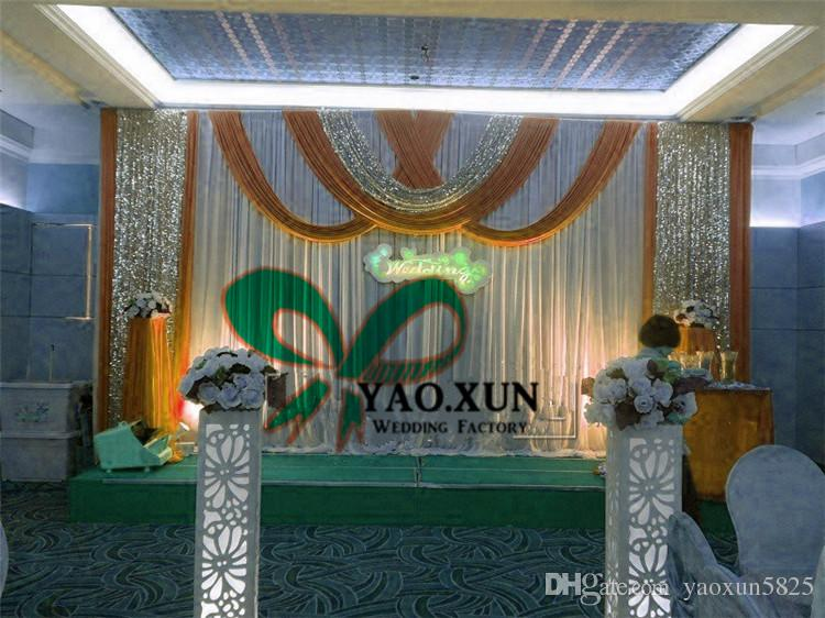 3m*6m White Color Wedding Backdrop Curtain \ Stage Background With The Swag Drape And Sequin Fabric And The Stent Pipe \ Stand