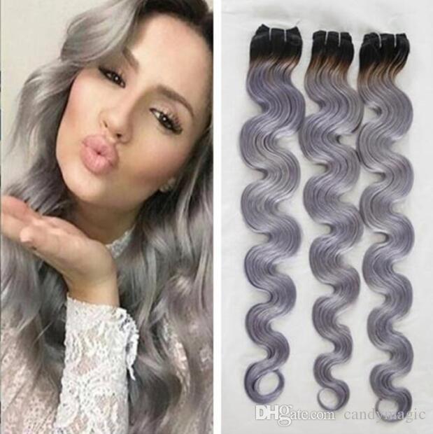Ombre Human Hair Weaves 1b Grey Two Tone Brazilian Peruvian