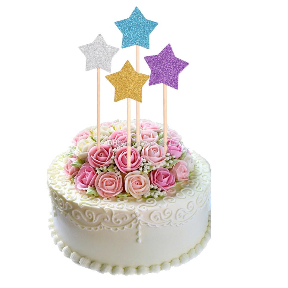 Glitter Paper Colorful Stars Design Birthday Cakes Toppers Baby