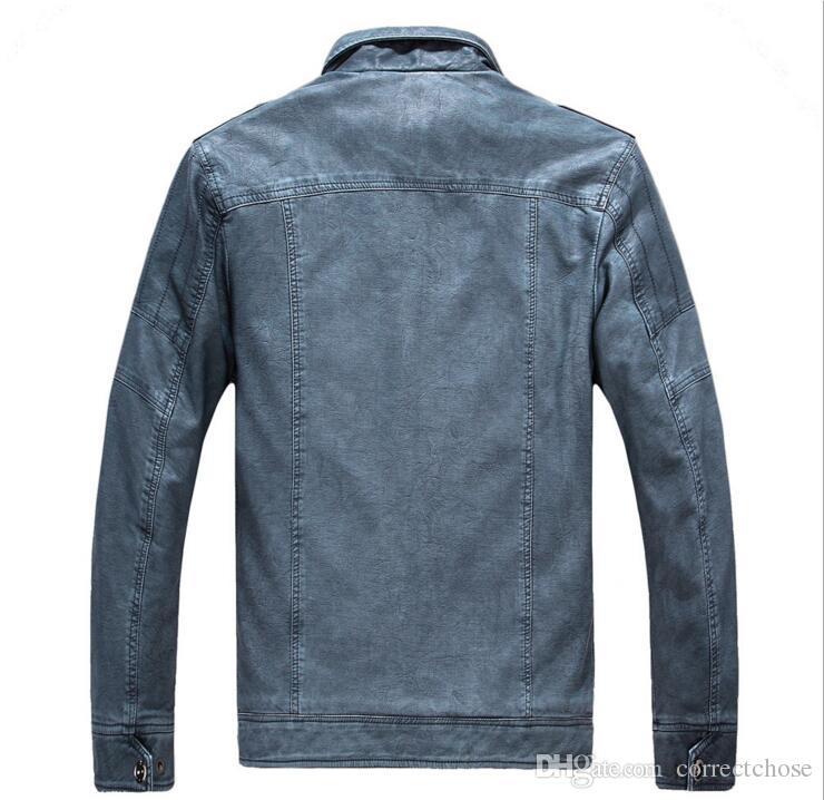 online retailer 16d70 733a6 2018 Herbstmode Veste Cuir Homme Kausalen Jacke Männer Blouson Umlegekragen  jaqueta de couro Männer Jacke Mäntel