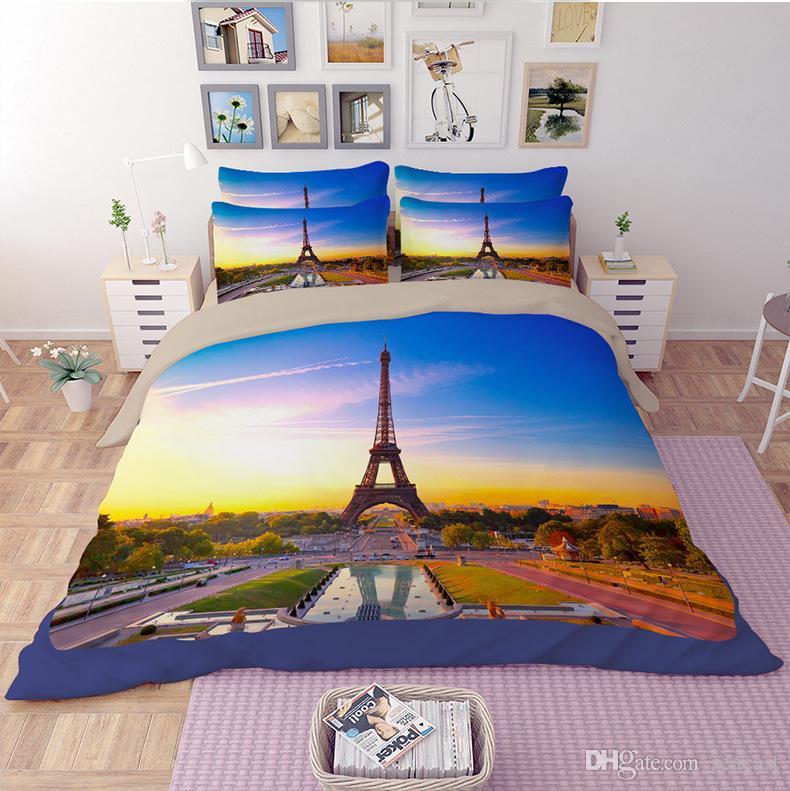 Großhandel Bettwäsche Set Eiffelturm Muster Queen Size Heimtextilien