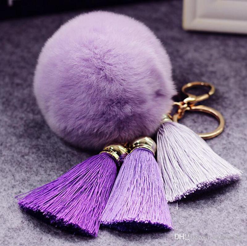 es populares flecos llaveros borlas de piel de conejo macrame bolas pompones llavero bolso monedero coche colgante adornos bolso llaveros