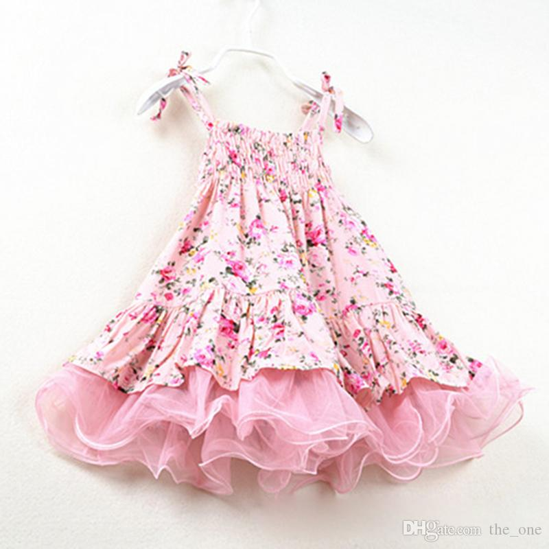 Baby Girls Dress New Summer Beach Style Floral Print Party Dresses For Girls Vintage Toddler Girl Clothing