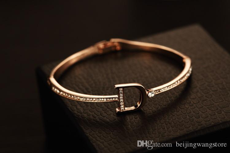 Varejo mulheres punhos pulseira vintage 18k banhado a ouro zircão letra encantos pulseira pulseira para festa jóias da marca coreana