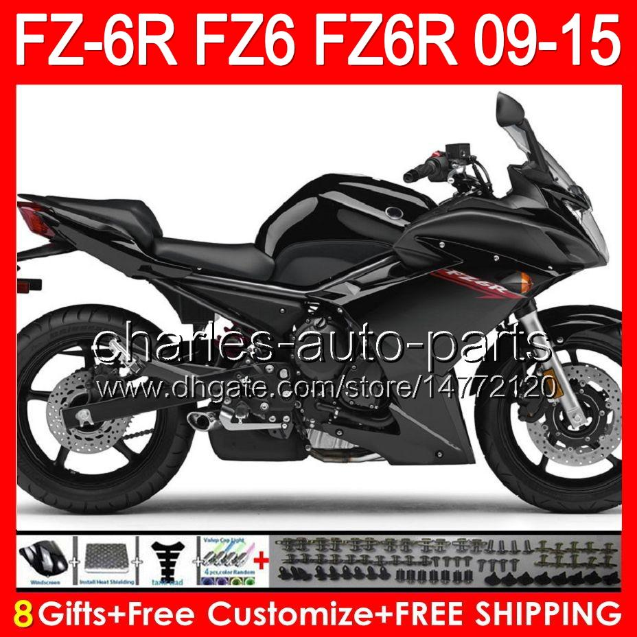 8gifts For YAMAHA FZ6R 09 10 11 12 13 14 15 FZ6N FZ6 89NO28 gloss black FZ-6R FZ 6R 2009 2010 2011 2012 2013 2014 2015 gloss black Fairing