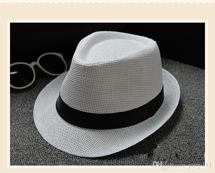 Cheap Vogue Men Women Hat Kids Children Straw Hats Cap Soft Fedora Panama Belt Hats Outdoor Stingy Brim Caps Spring Summer Beach LC613