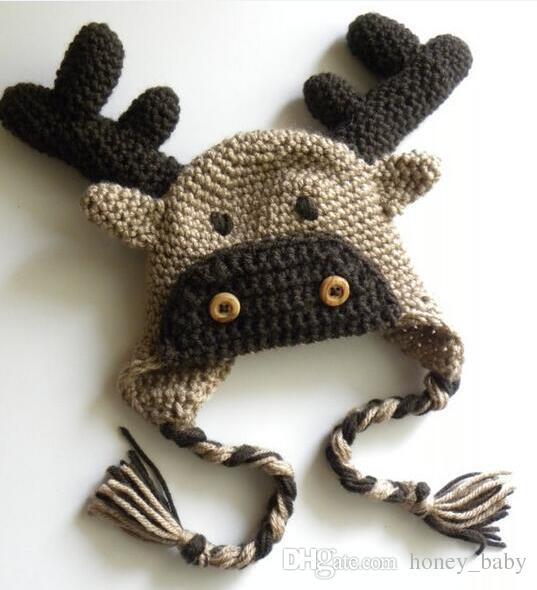 Winter Reindeer Rudolph Hat Halloween Christmas Gifts Animal Caps Newborn  Infant Toddler Beanie Kids Baby Boys Girls Headwear 100% Cotton 9ac39bab63b
