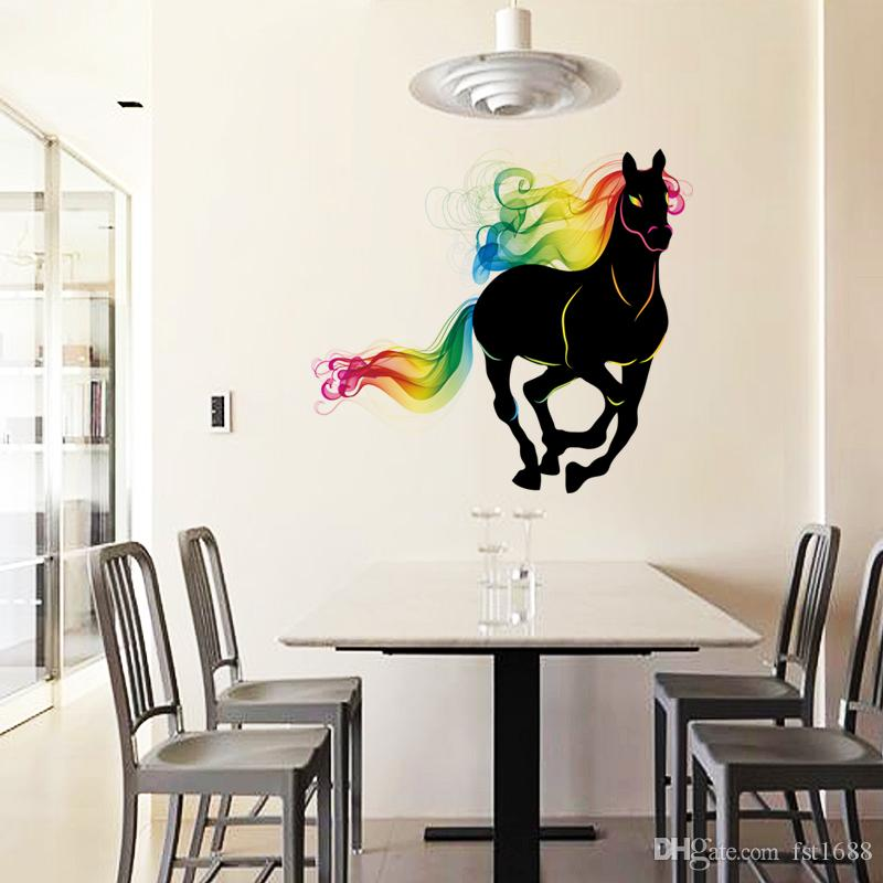 Lovely Sk9054 Running Horse Wall Sticker 3d Colorful Horse Tail Wall Decals  Animals Art Mural Poster Home Decoration Nursery Wall Sticker Nursery Wall  Stickers ...