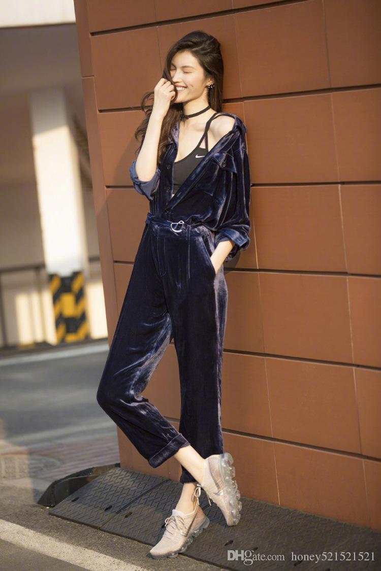 Automne de mode nouvelle femme même style tourner vers le bas collier manches longues pantalon long combinaison en velours Body barboteuses pantalon SMLXL