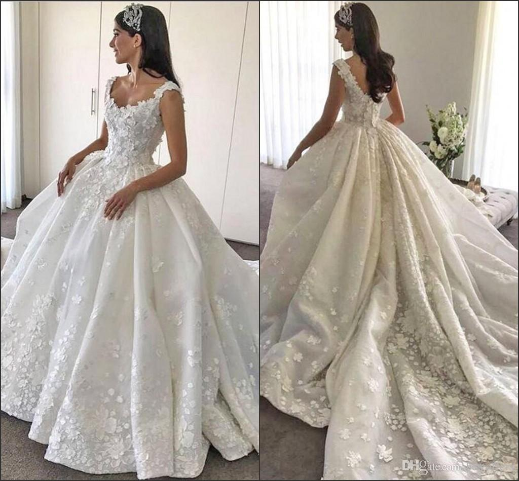 79dcad07081 Luxury Ball Gowns Wedding Dresses 2017 V Neck With 3D Handmade Flowers  Court Train Vestido De Novia Victoria Bridal Gowns Custom Made Plus Size  Wedding ...