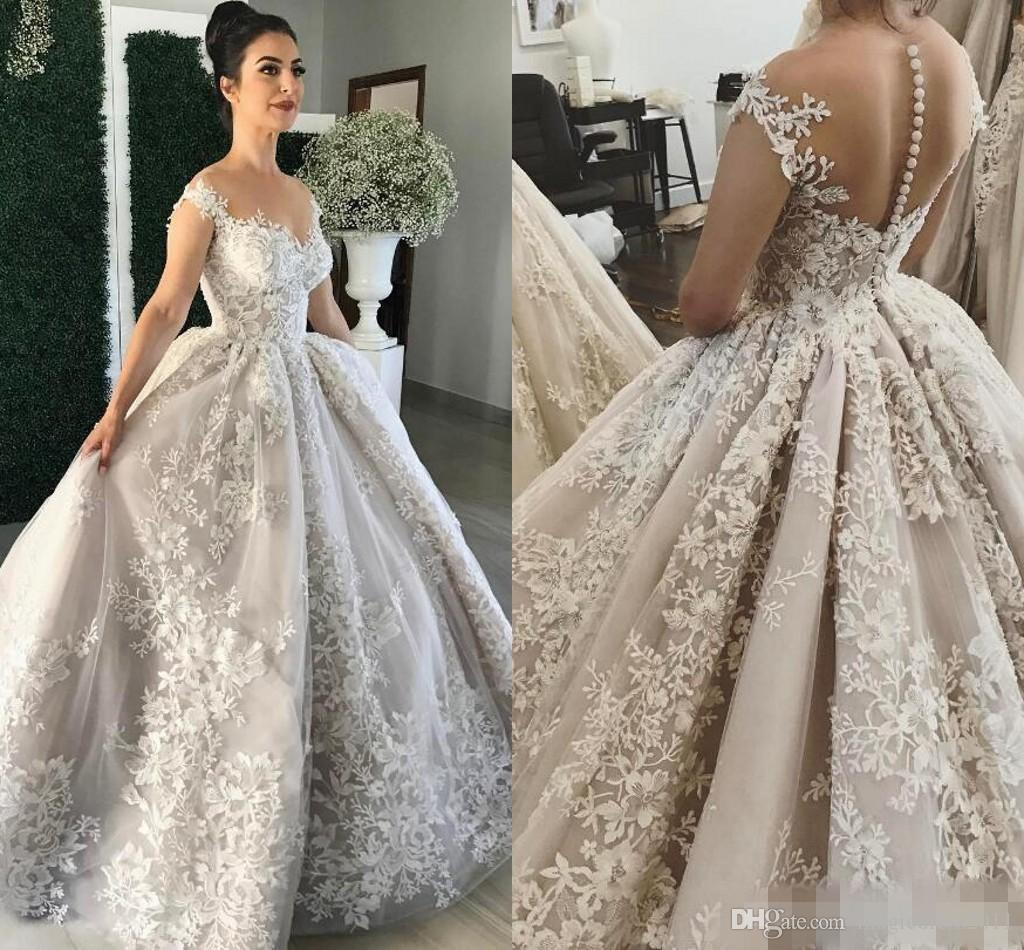 637a83d15d73 Luxurious Lace 2017 Arabic Wedding Dresses Cap Sleeves Ball Gown Vintage  Bridal Dresses Sexy Wedding Gowns Summer Wedding Dresses Vintage Style  Wedding ...