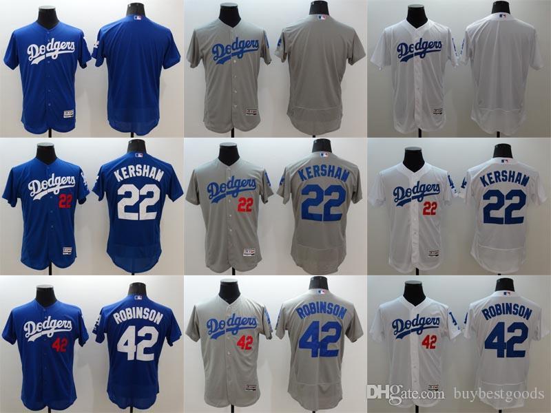 e0601e5e8 ... Flexbase Stitched Baseball Jerseys 22 Los Angeles Dodgers Blank 22  Clayton Kershaw 42 Jackie Robinson White Grey Blue Jerseys 2016 New ...