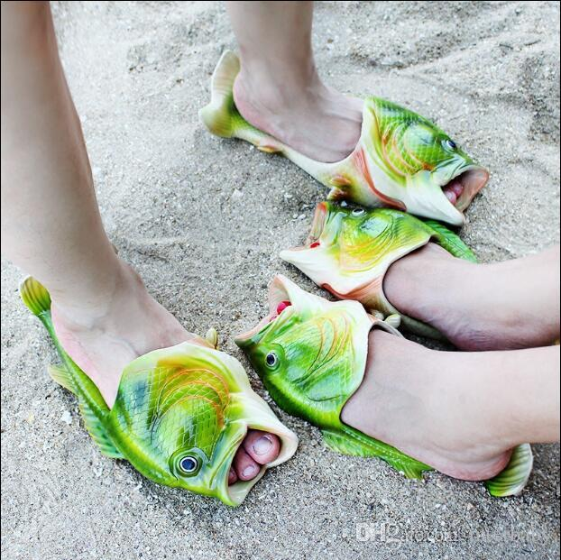 fb882e835 2019 Fish Slippers Handmade Summer Fish Sandals Fish Beach Slippers Unisex  Creative Shoes Kids Couple Open Toe Flat Novelty Adult Shoes New J576 From  ...