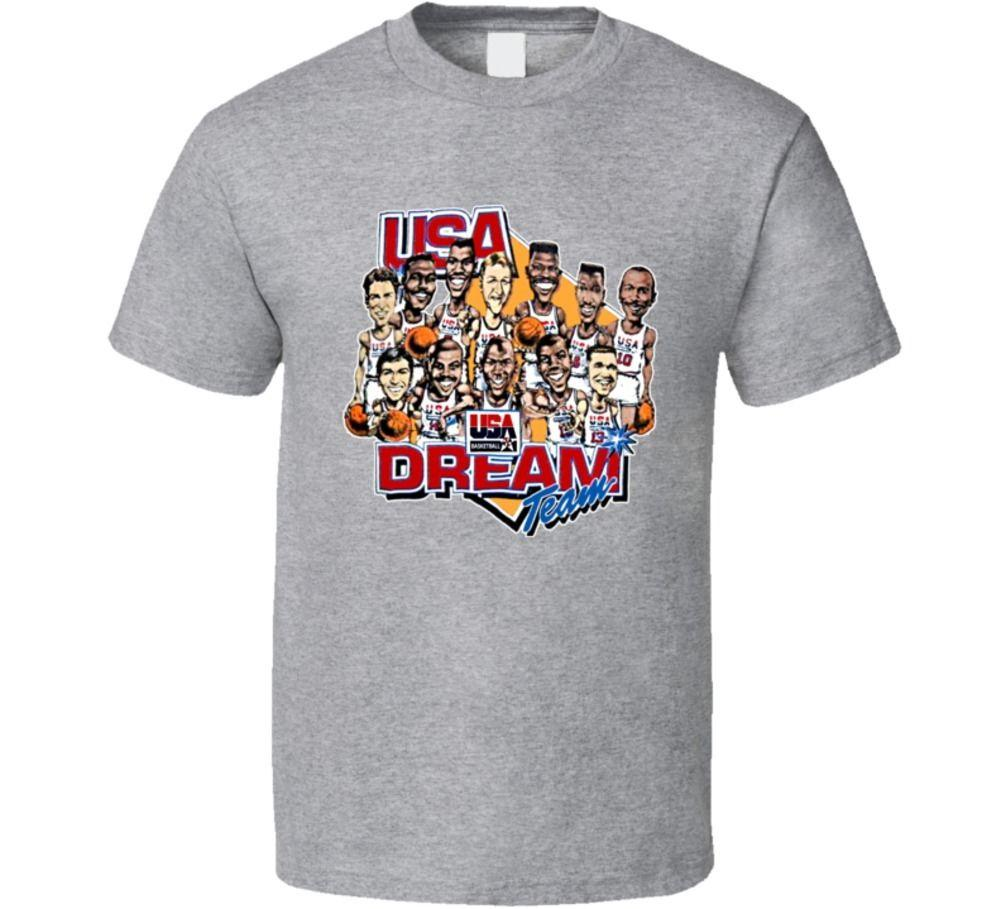 Usa Dream Team Retro Caricature Basketballer T Shirt Male ...
