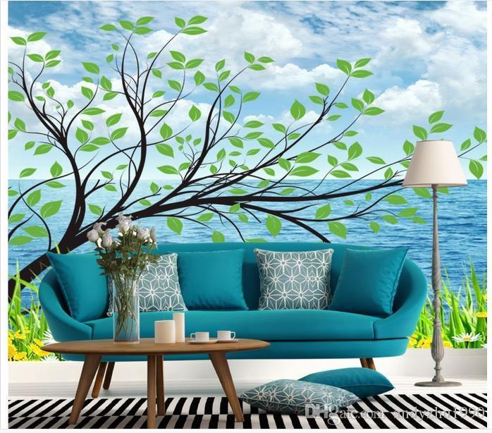 3D photo wallpaper custom size 3d wall murals Seaside tree picture home decoration mural wall 3D Mural wallpaper