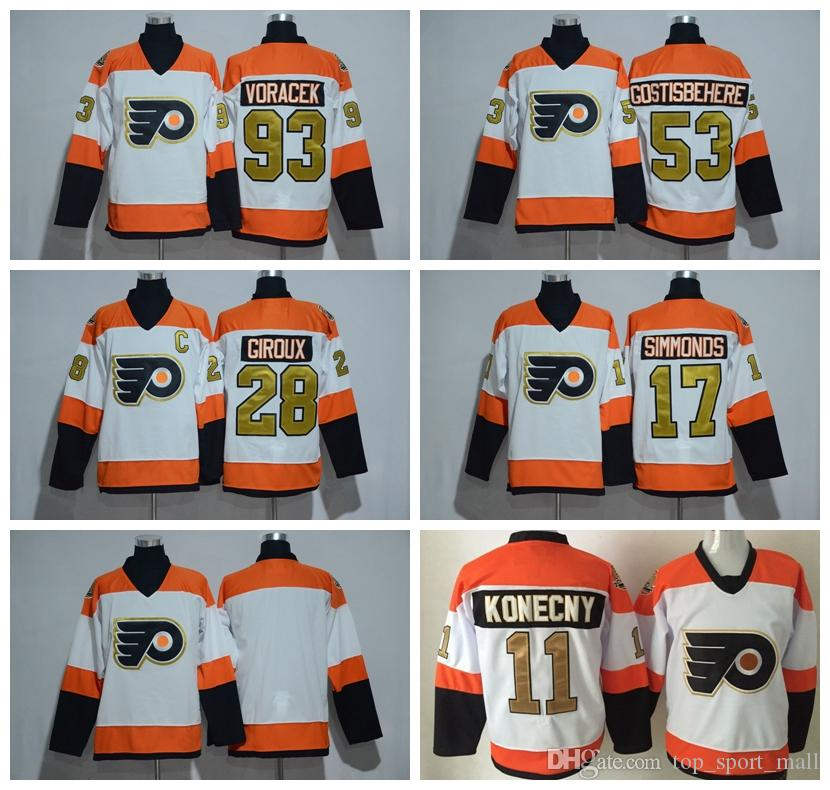 3622c8b4a 2019 50th Anniversary Philadelphia Flyers Jerseys Hockey 53 Shayne  Gostisbehere 93 Jakub Voracek 28 Claude Giroux 17 Simmonds 11 Travis  Konecny From ...