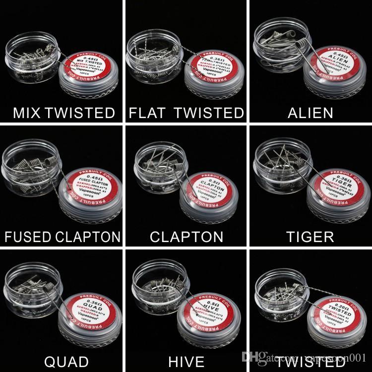 100% d'origine vapesoon premade bobine clapton alien ruche fusionnée clapton quad tiger mix torsadée fil de chauffage bobines / boîte ePack livraison gratuite