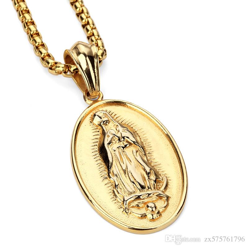 Wholesale fashion men necklace blessed virgin mary pendant design wholesale fashion men necklace blessed virgin mary pendant design 18k gold plated stainless steel filling pieces mens hip hop jewelry gold pendant necklace aloadofball Image collections
